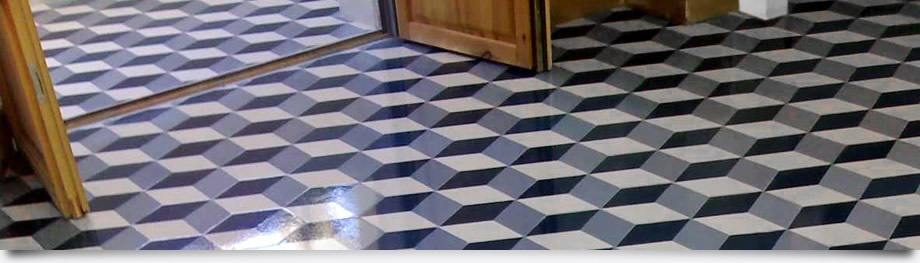 Geometric Pattern Concrete Floor