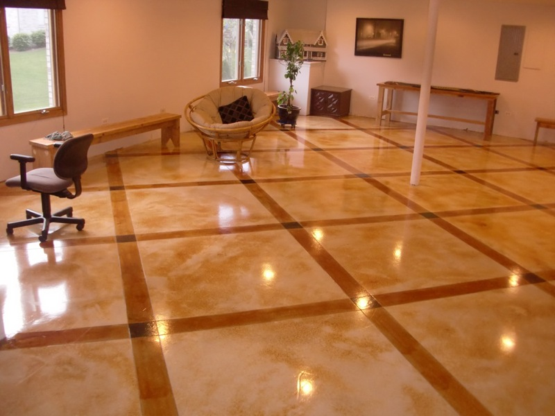 Concrete Floor Design Ideas stenciled floor stained floor patterned floor concrete floors image n concrete designs Stain Or Color The Concrete To Add Excitement To Modern Design Stained Concrete Floor
