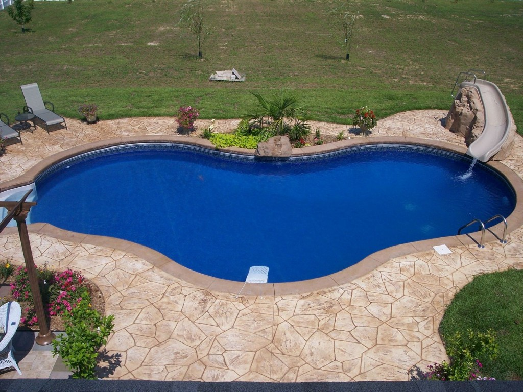 Decorative concrete ideas to add unique effect to your for In ground pool deck ideas