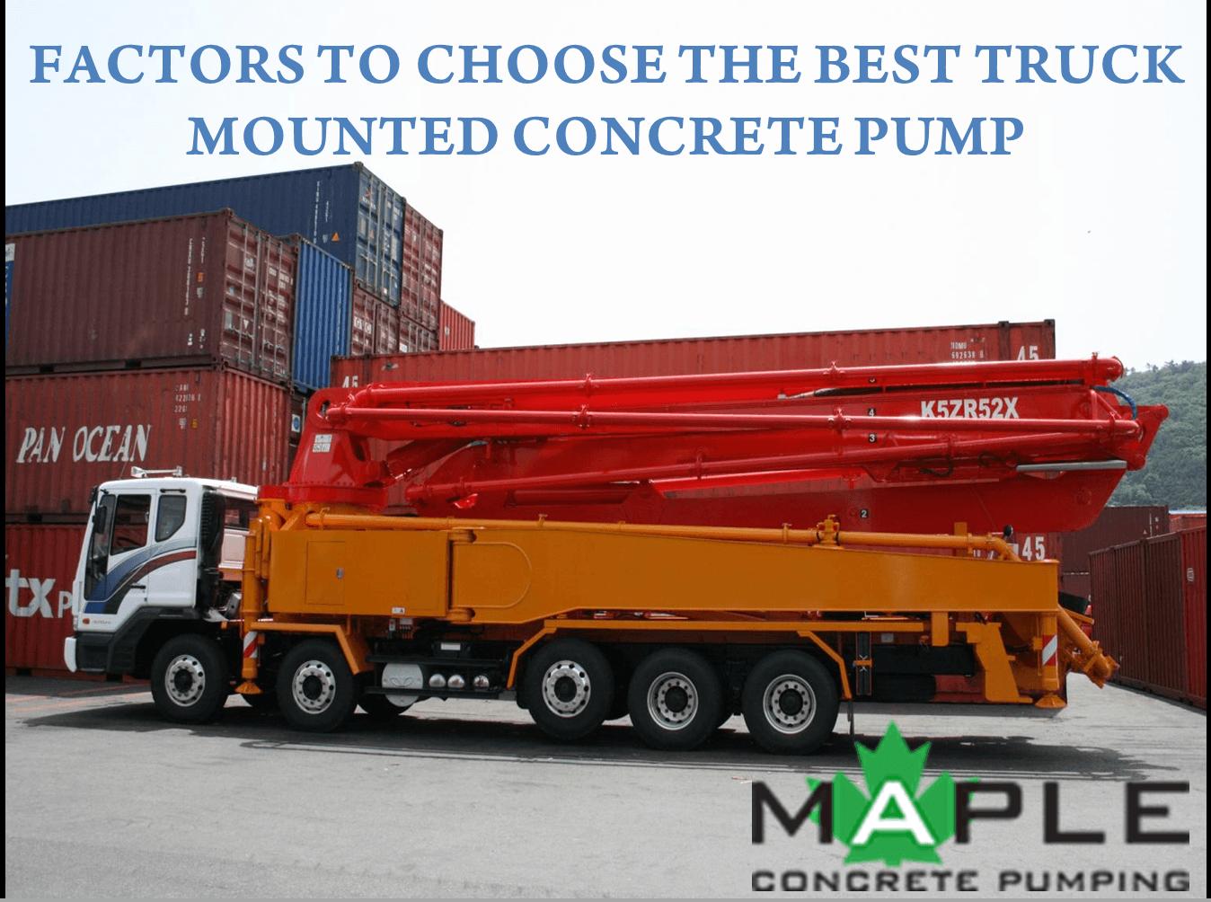Truck Mounted Concrete Pump Maple Concrete Pumping